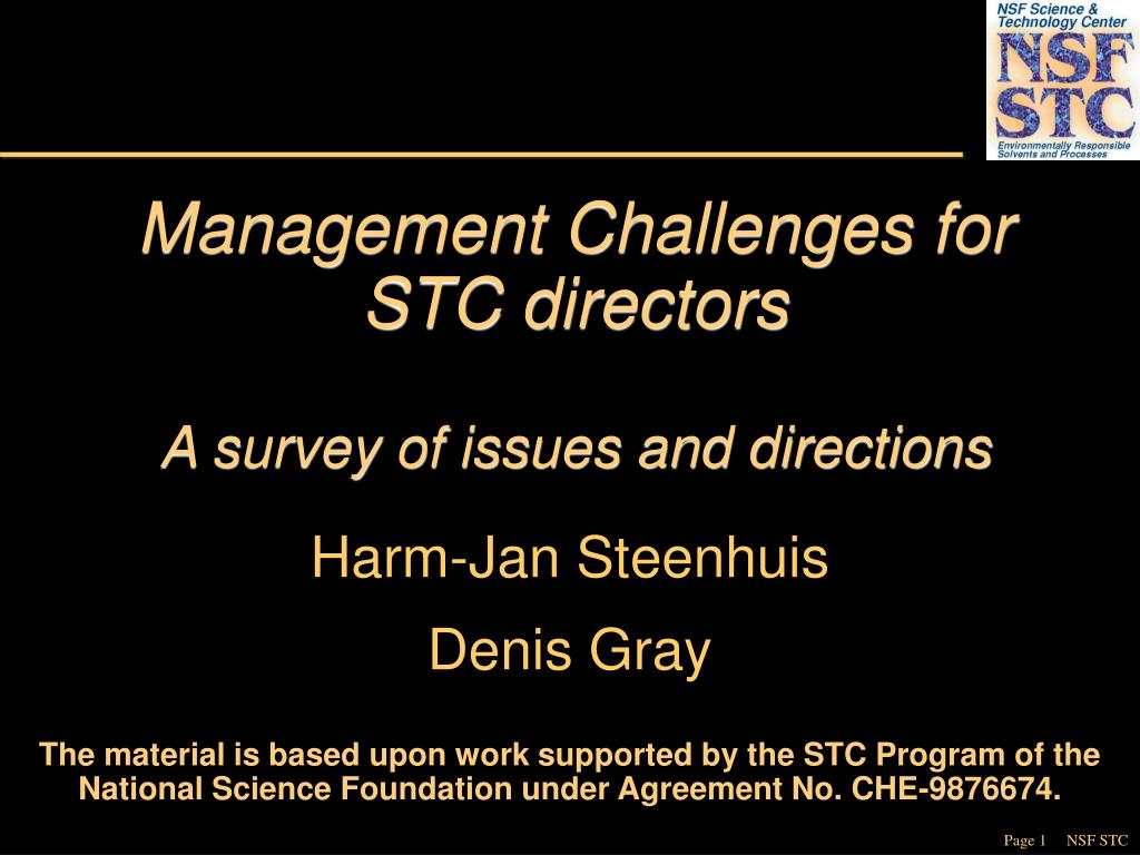 Management Challenges for STC directors