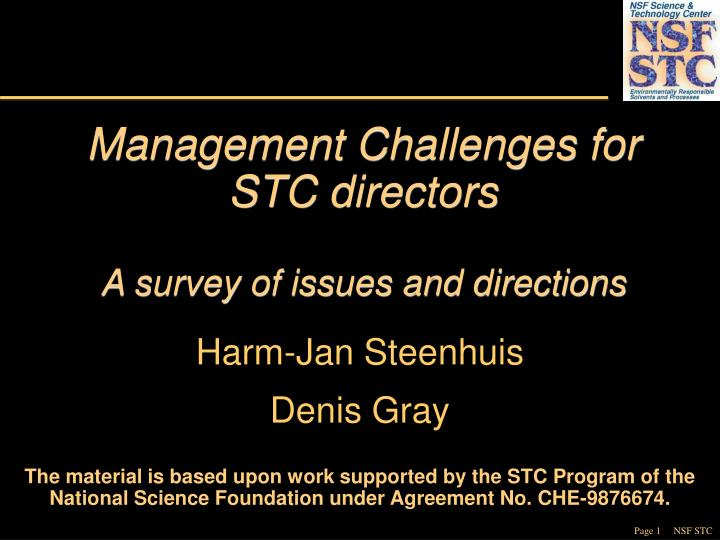 Management challenges for stc directors a survey of issues and directions l.jpg