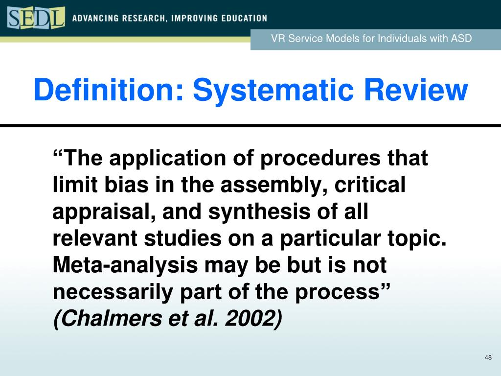 Definition: Systematic Review