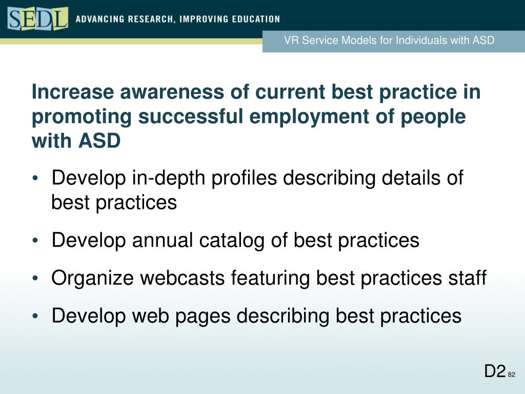 Increase awareness of current best practice in promoting successful employment of people with ASD