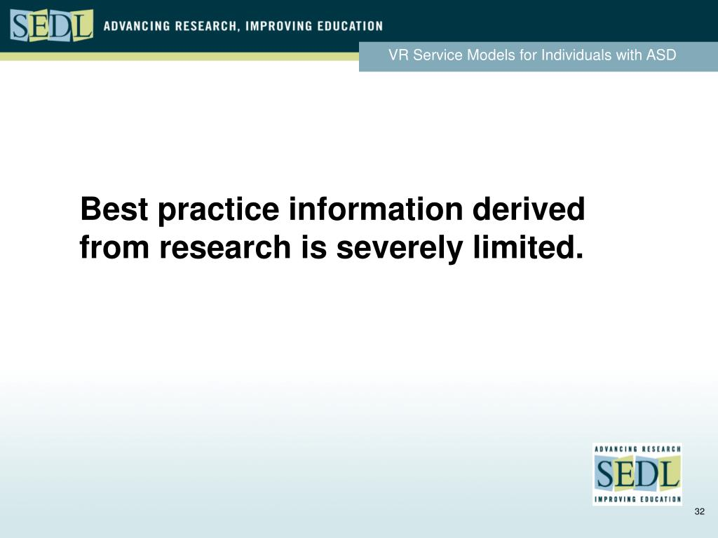 Best practice information derived from research is severely limited.