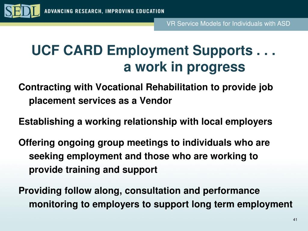 UCF CARD Employment Supports . . .