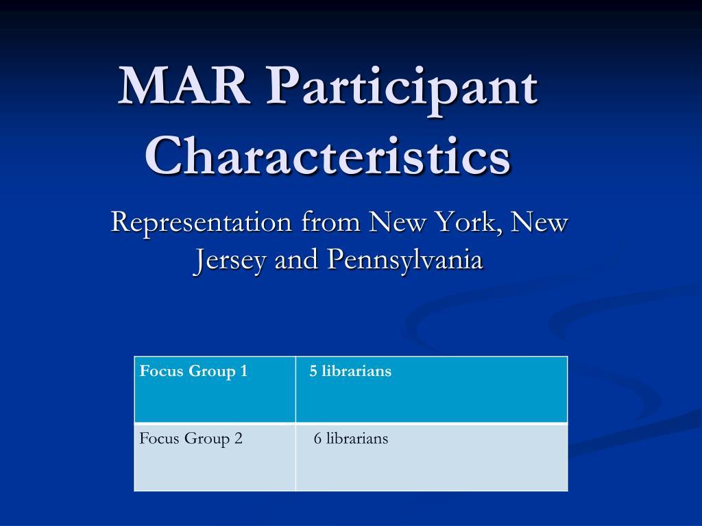 MAR Participant Characteristics