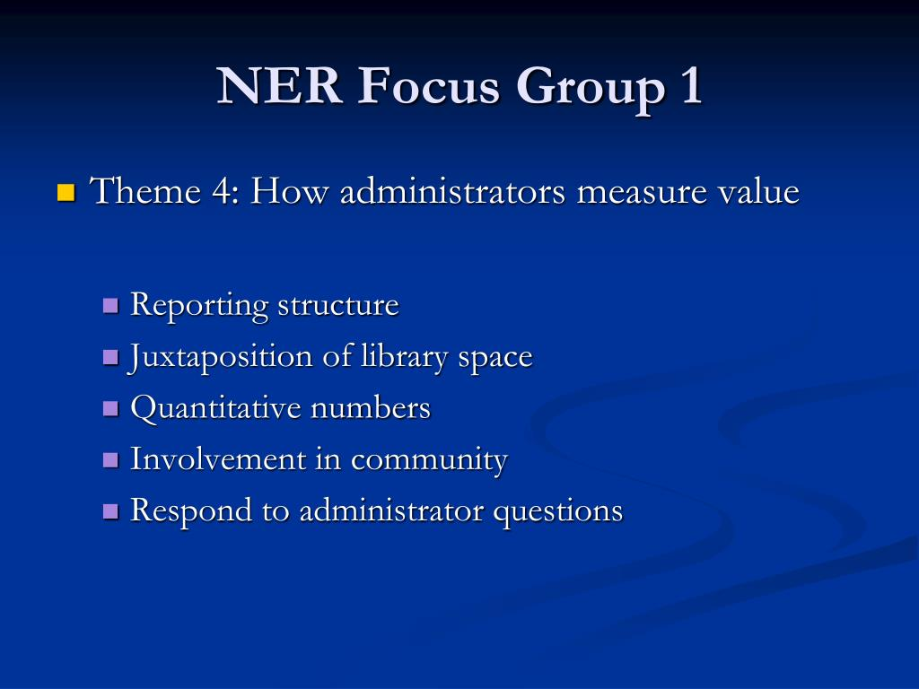 NER Focus Group 1
