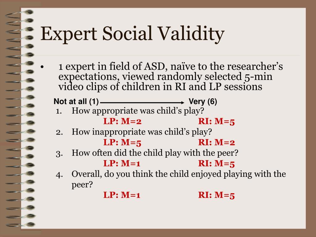 Expert Social Validity