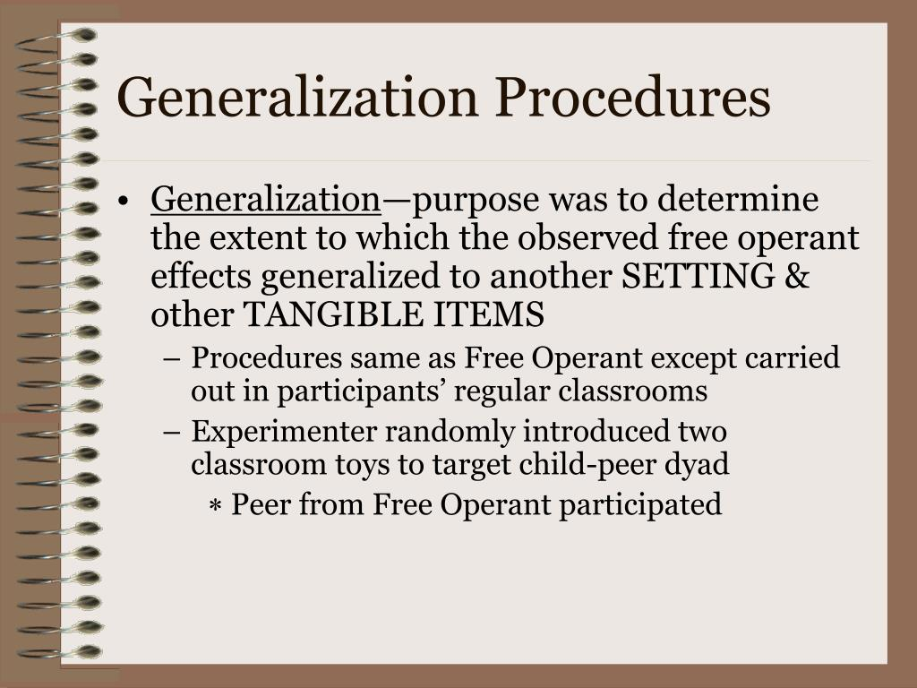 Generalization Procedures