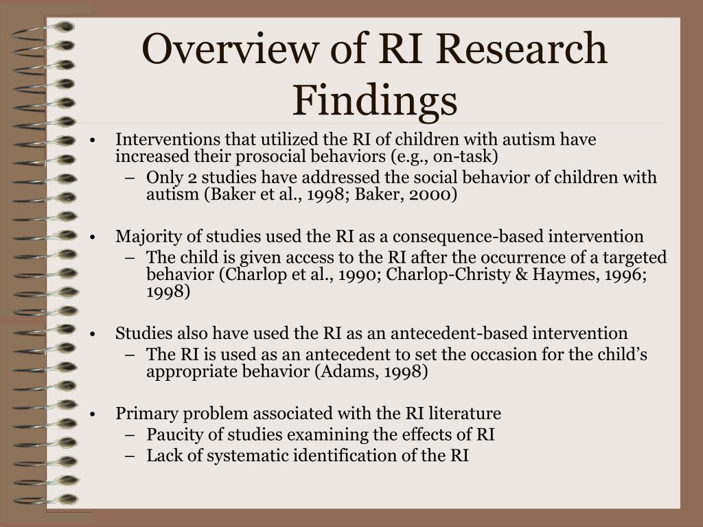 Overview of RI Research Findings