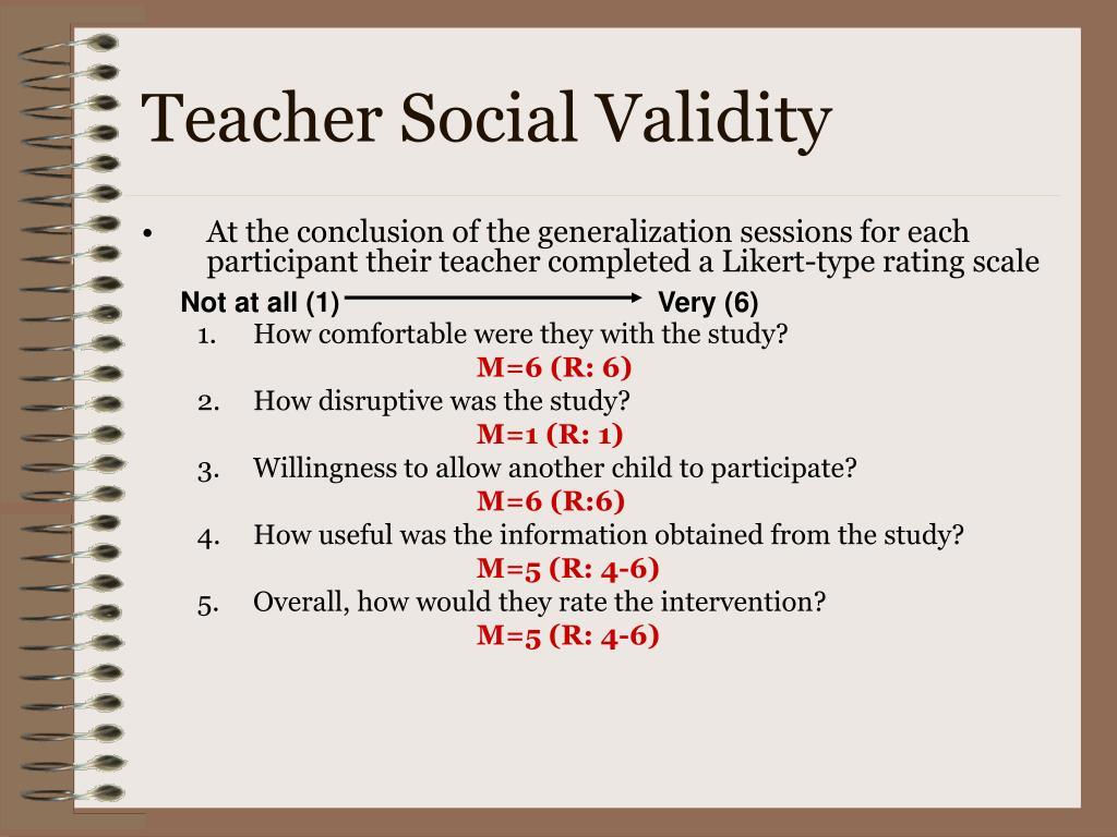 Teacher Social Validity