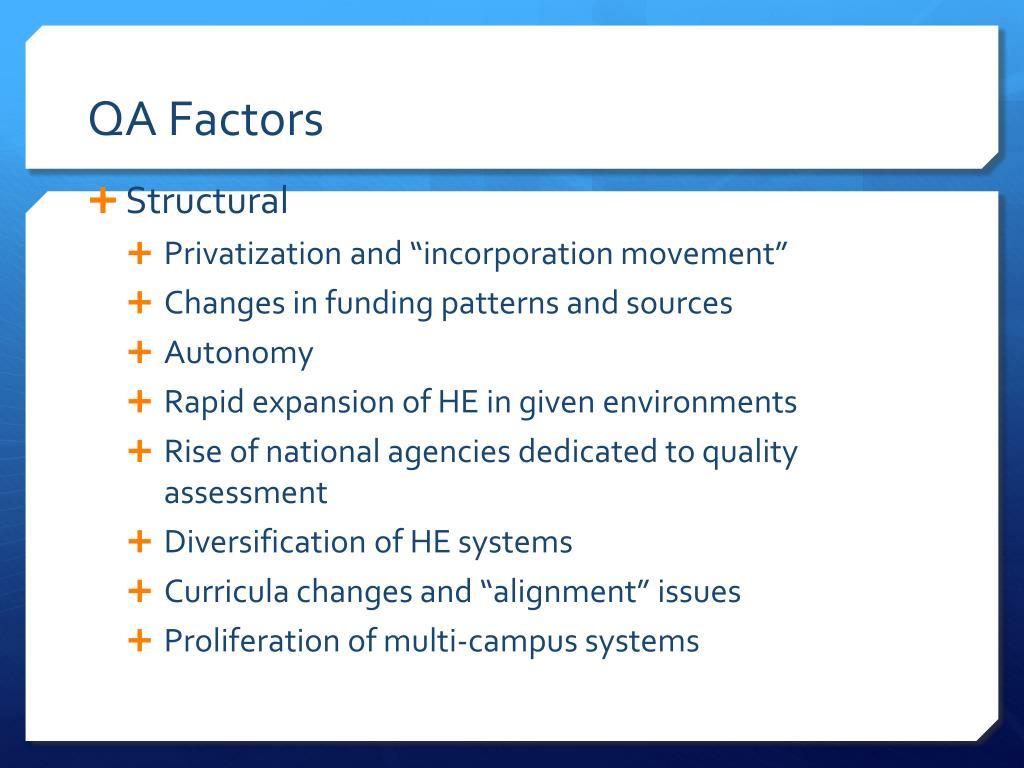 QA Factors