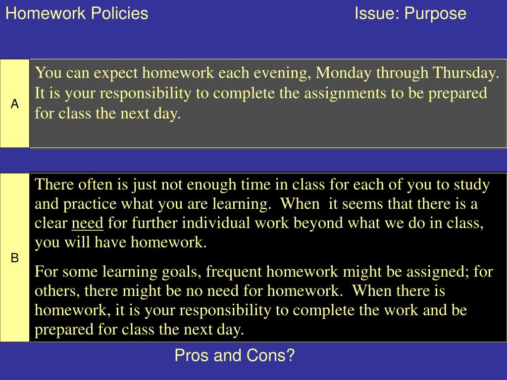 Homework Policies                                            Issue: Purpose