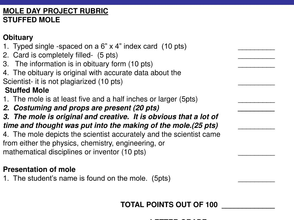 MOLE DAY PROJECT RUBRIC