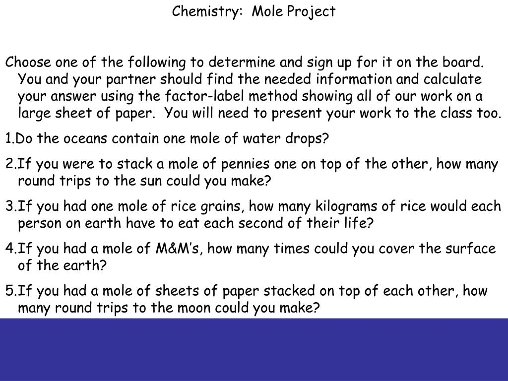 Chemistry:  Mole Project