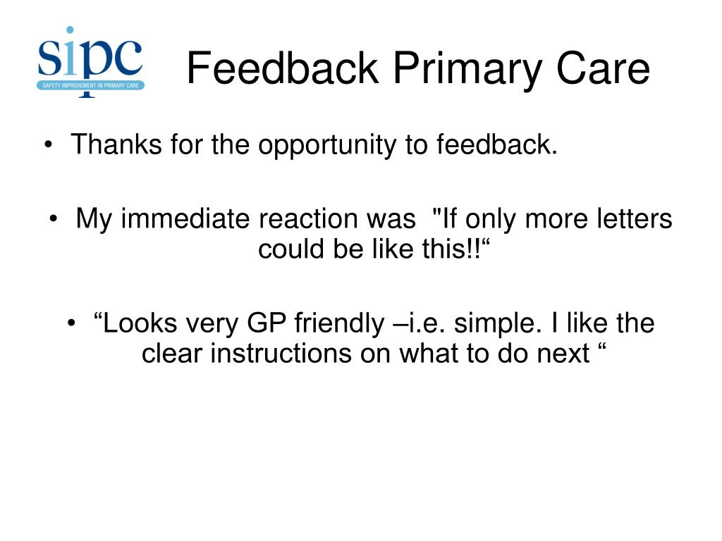 Feedback Primary Care