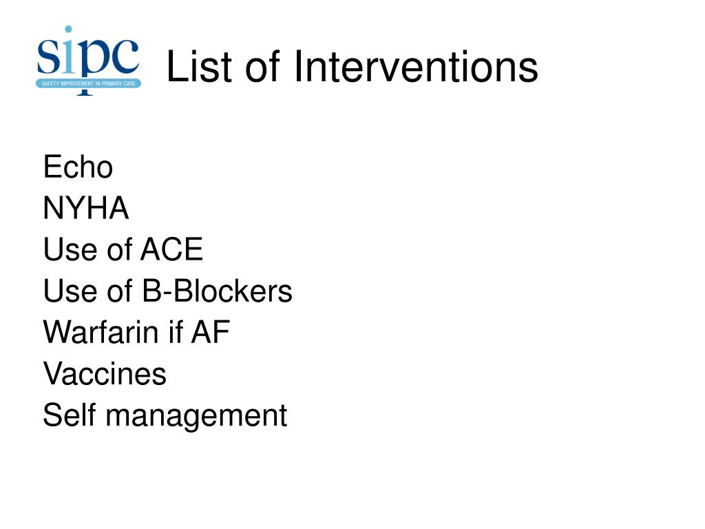 List of Interventions