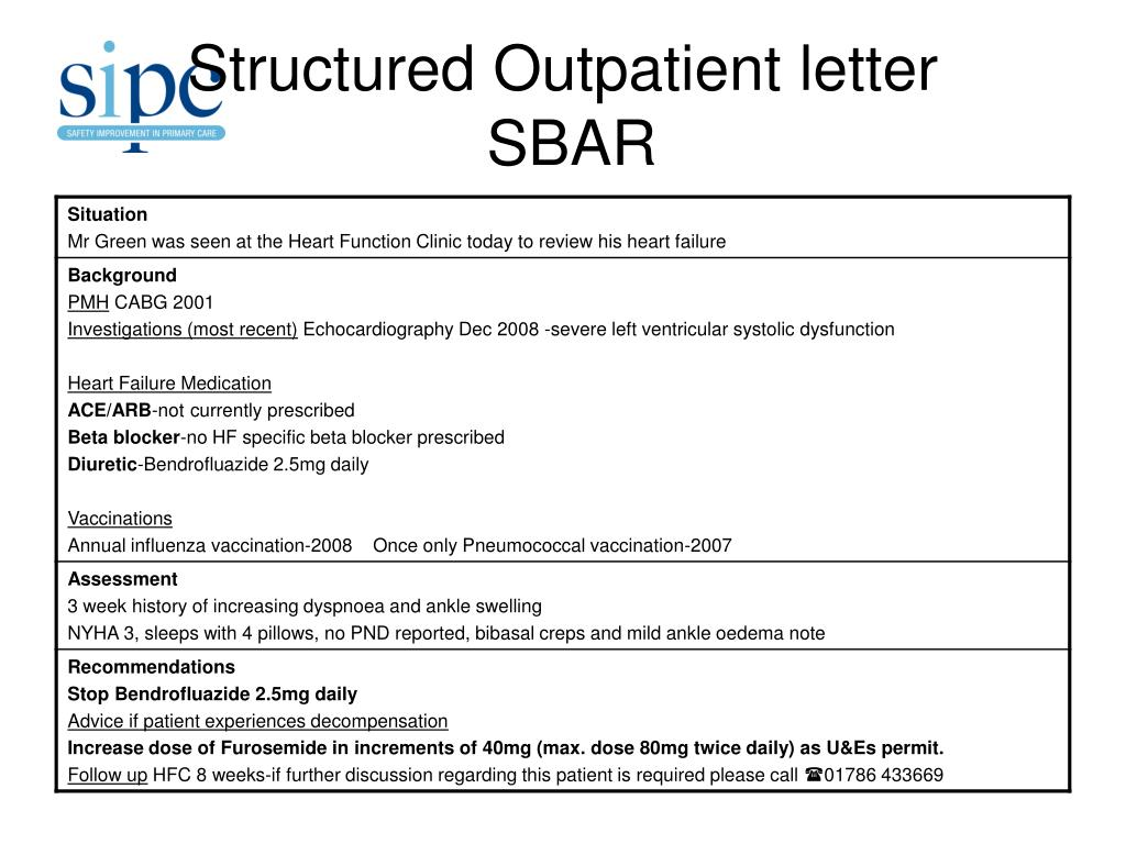 Structured Outpatient letter