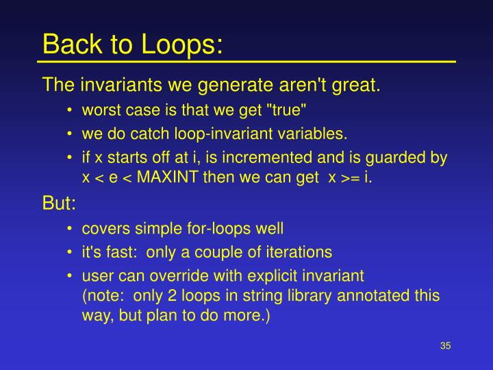 Back to Loops: