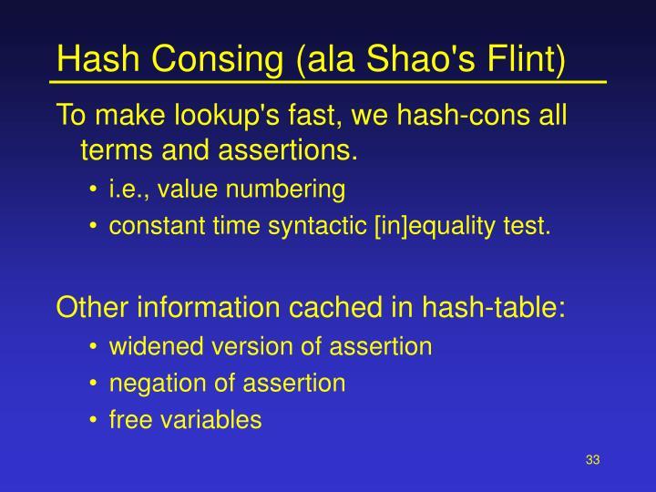 Hash Consing (ala Shao's Flint)