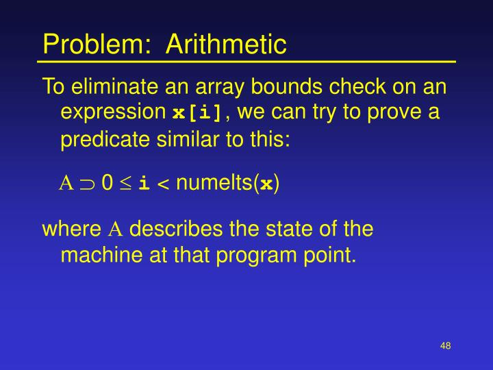 Problem:  Arithmetic