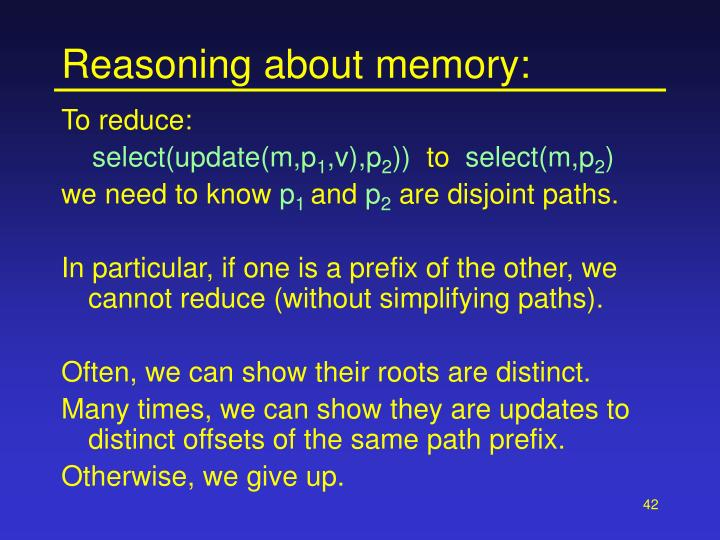 Reasoning about memory: