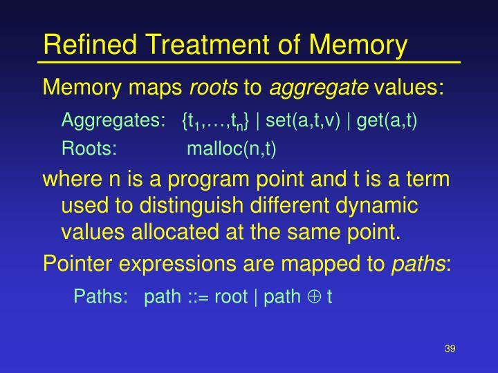 Refined Treatment of Memory