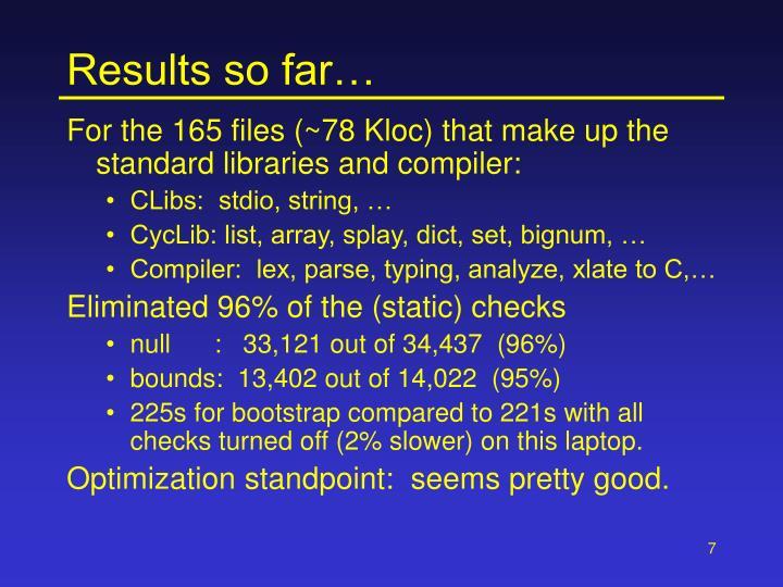 Results so far…