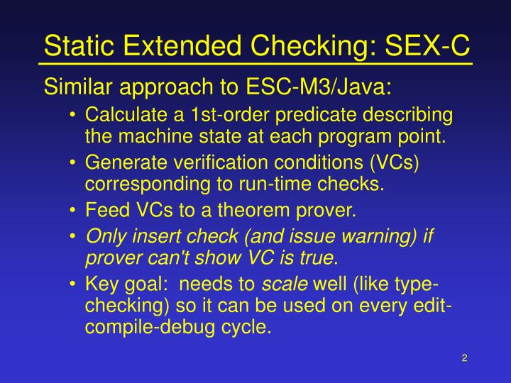 Static extended checking sex c