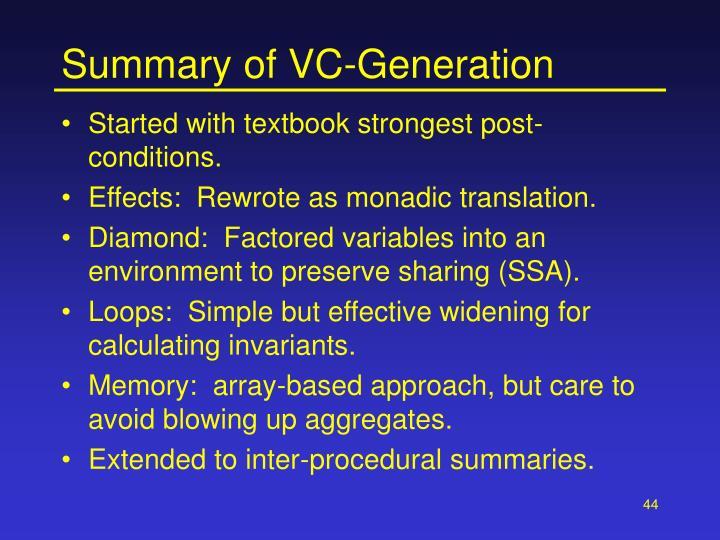 Summary of VC-Generation