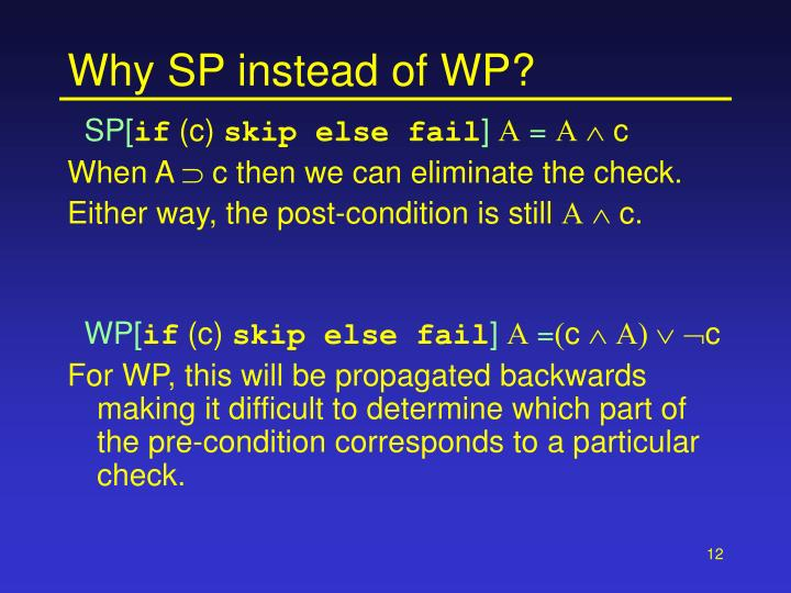 Why SP instead of WP?