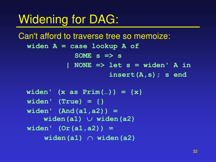 Widening for DAG:
