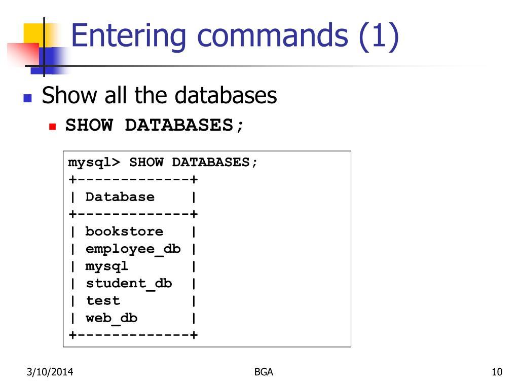 Entering commands (1)