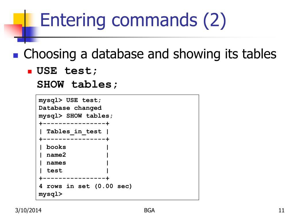 Entering commands (2)