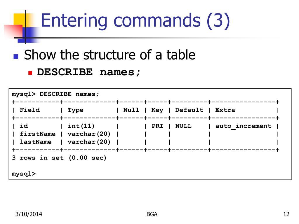 Entering commands (3)