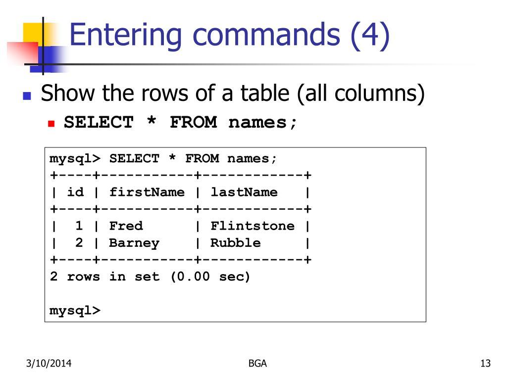 Entering commands (4)
