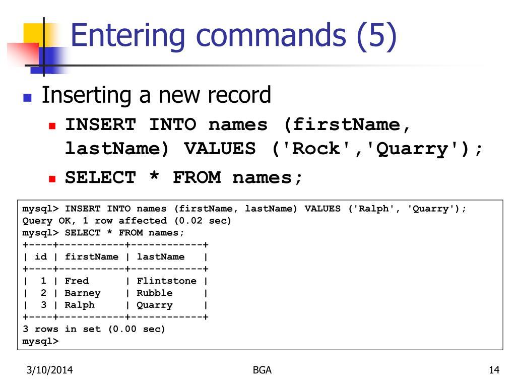 Entering commands (5)