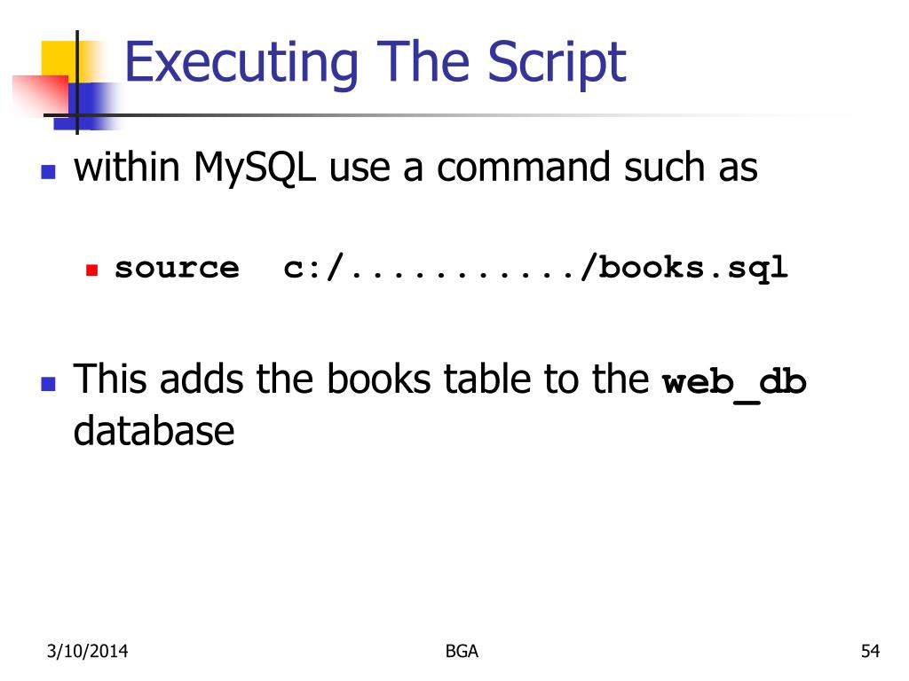 Executing The Script