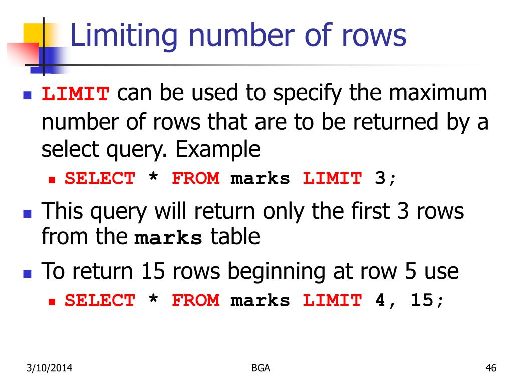 Limiting number of rows