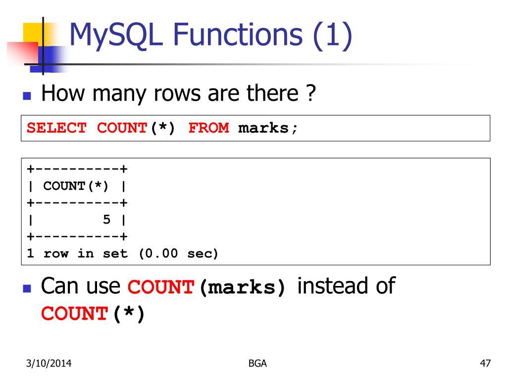 MySQL Functions (1)