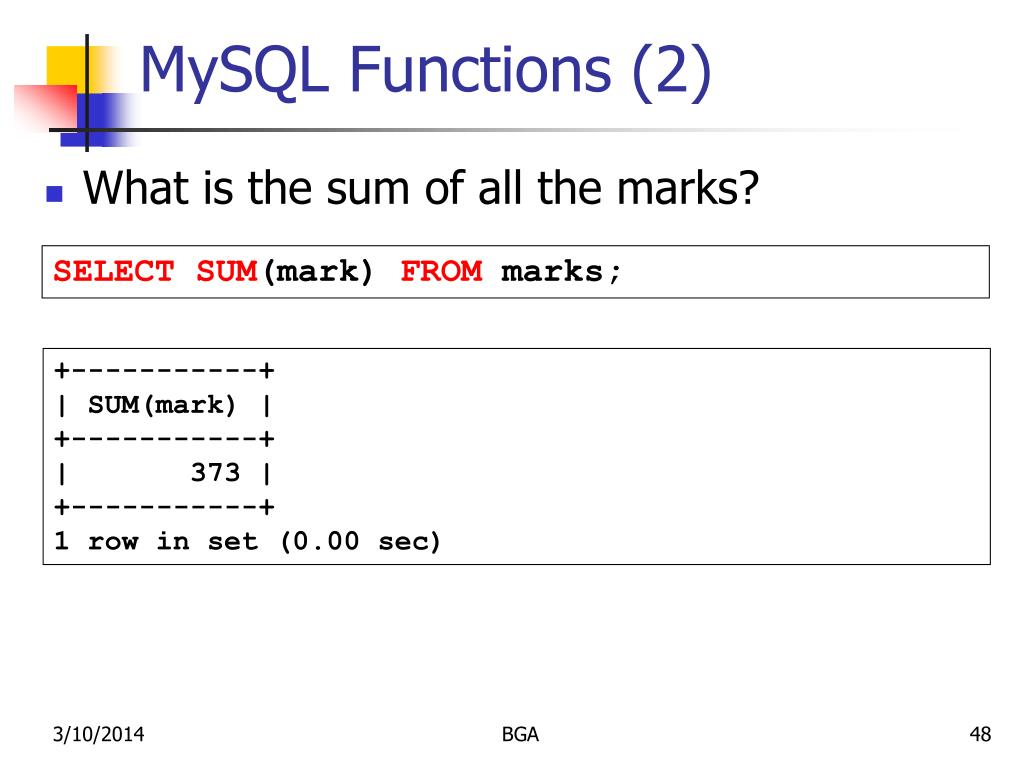 MySQL Functions (2)