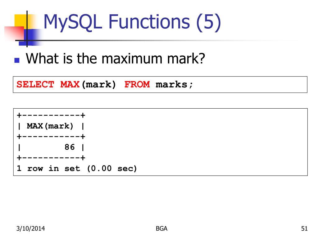 MySQL Functions (5)