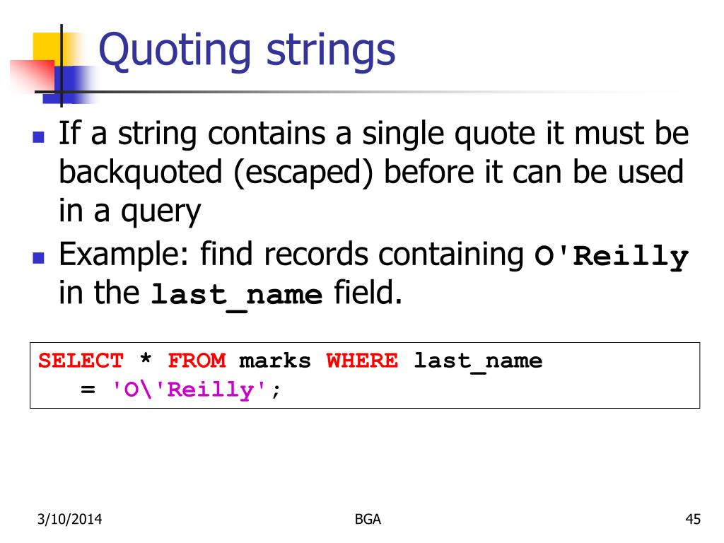 Quoting strings