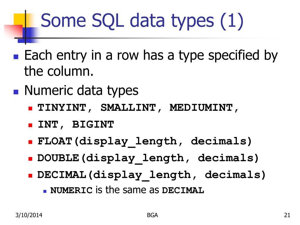 Some SQL data types (1)
