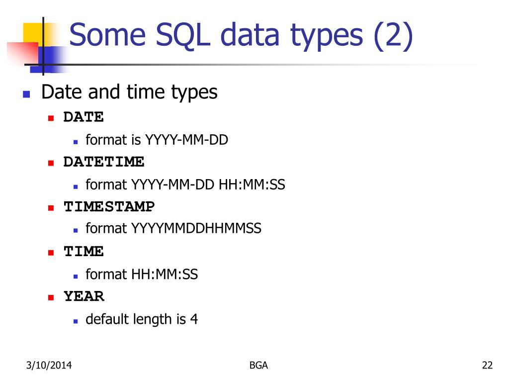 Some SQL data types (2)