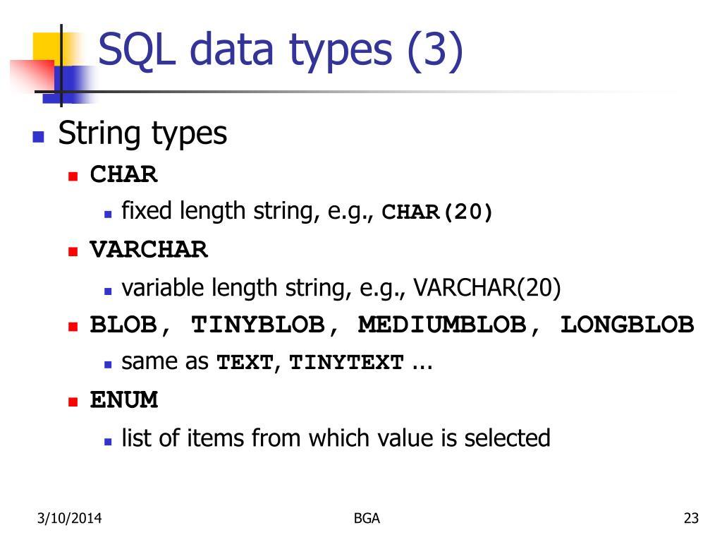 SQL data types (3)
