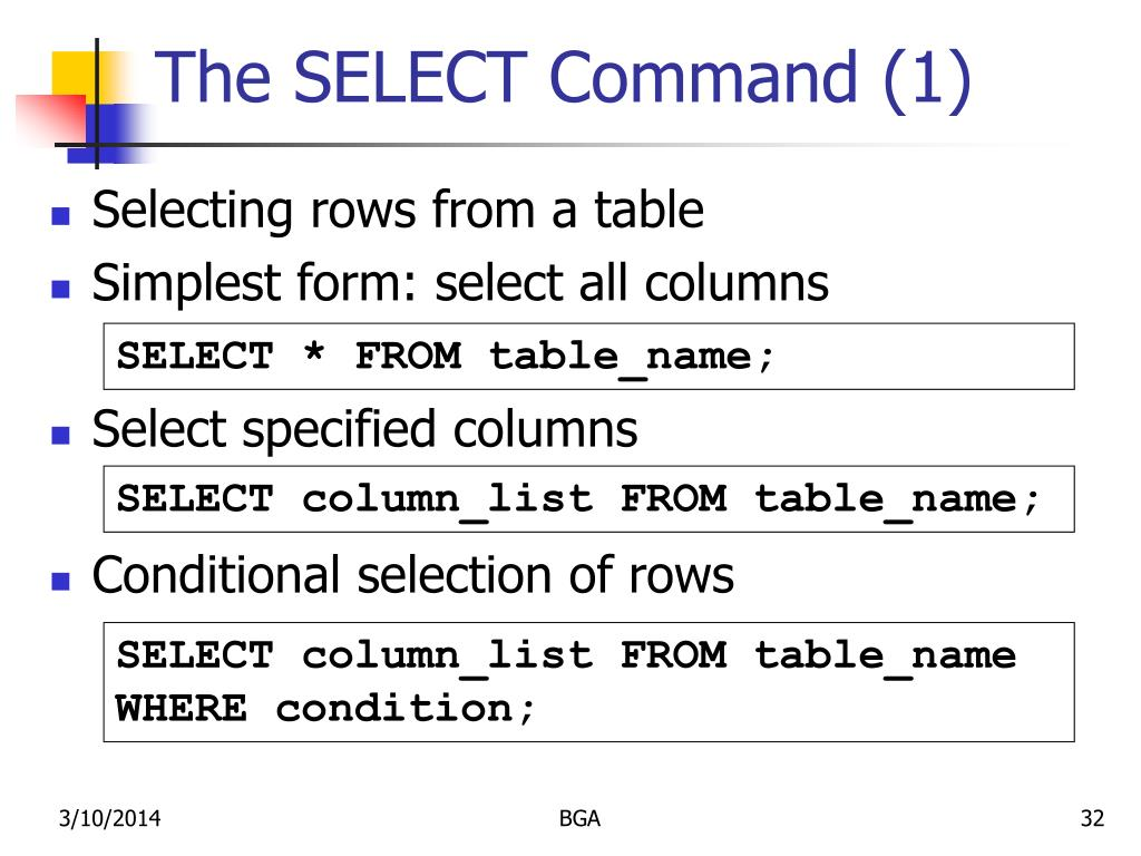 The SELECT Command (1)