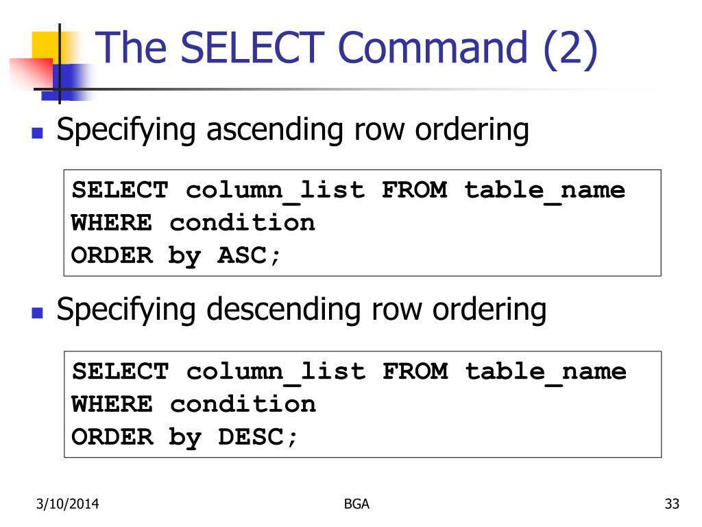 The SELECT Command (2)