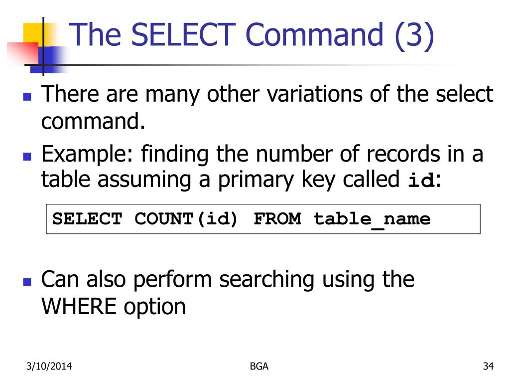 The SELECT Command (3)