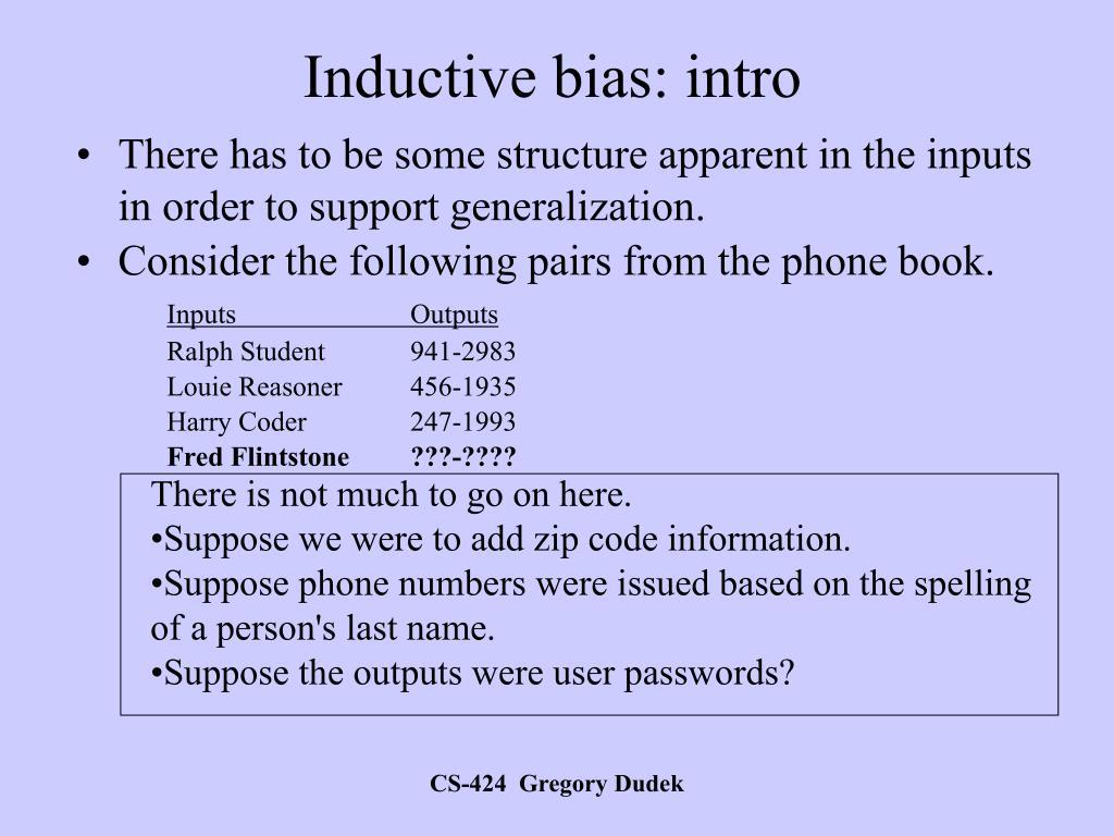 Inductive bias: intro