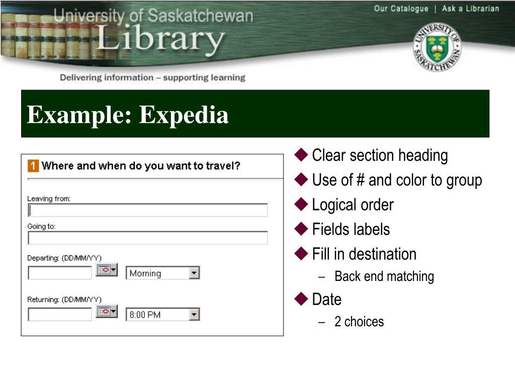 Example: Expedia