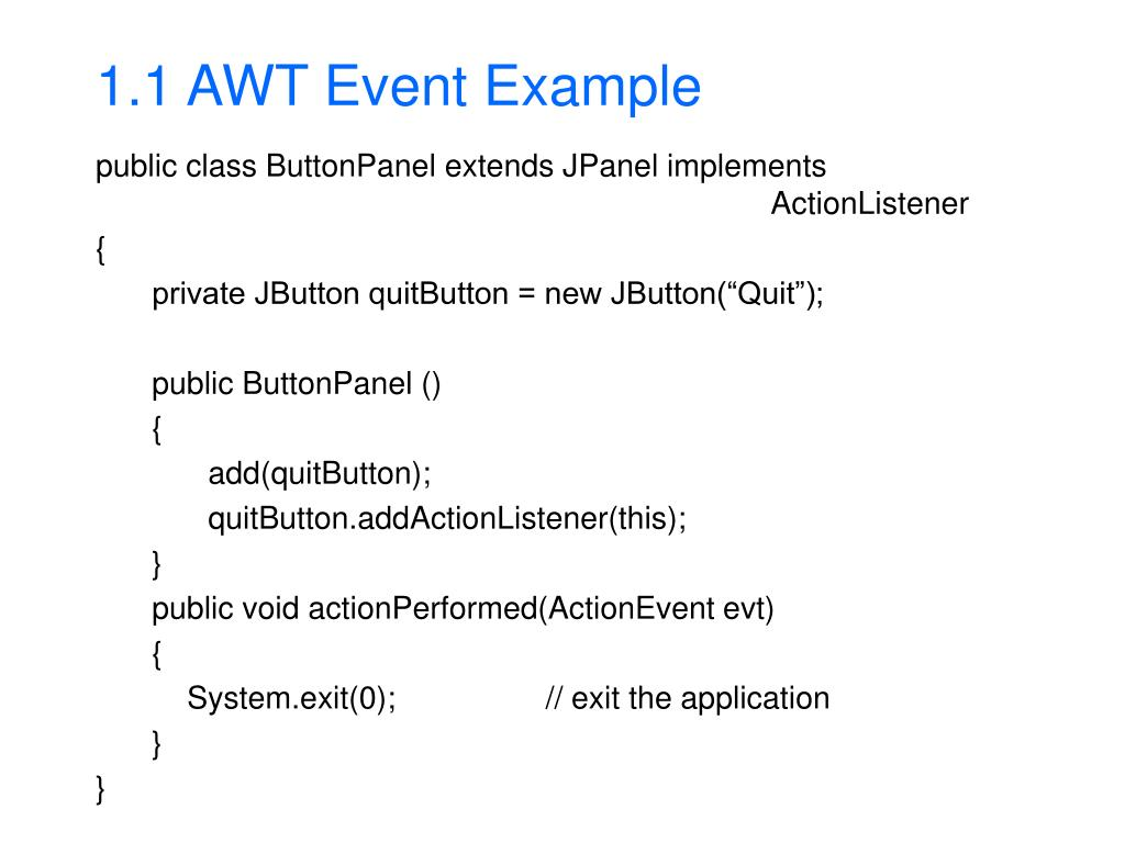 1.1 AWT Event Example