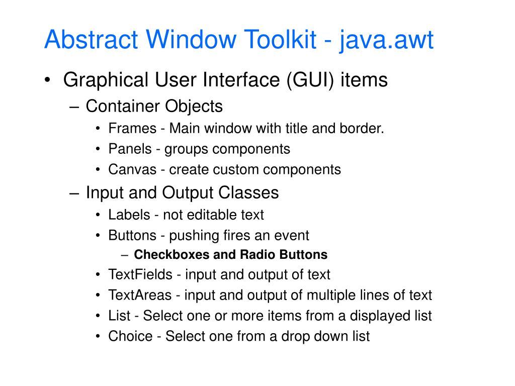 Abstract Window Toolkit - java.awt